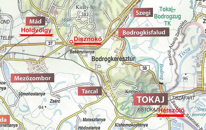 Plan de la région de Tokaj