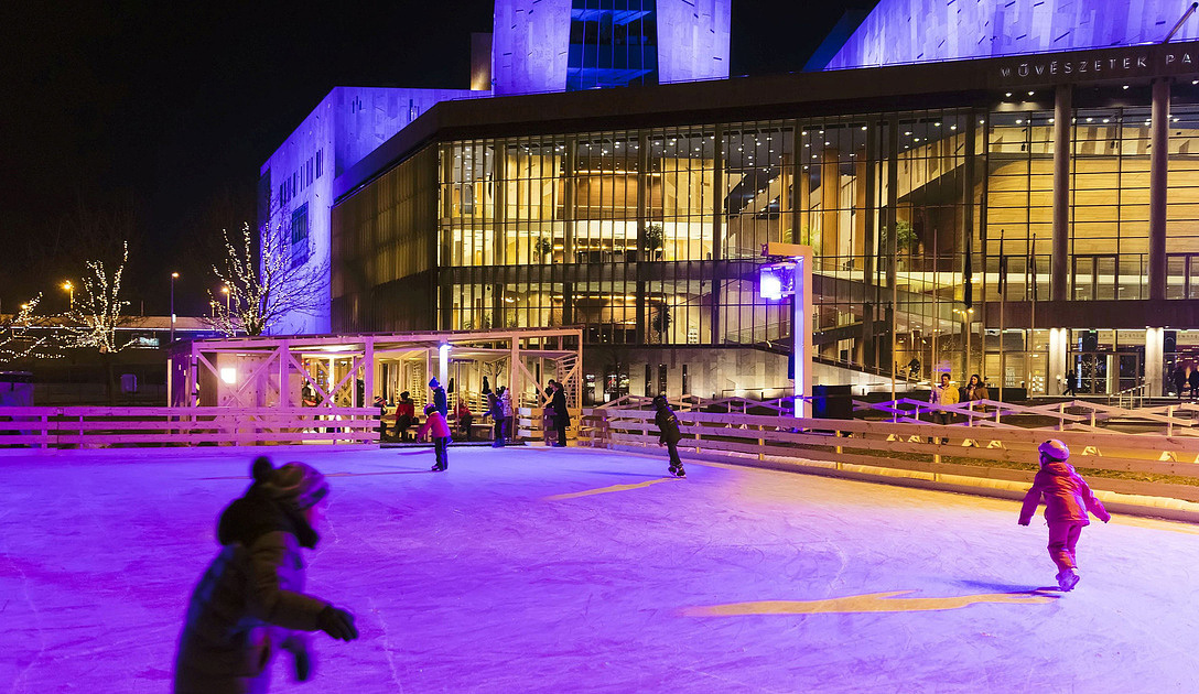 patinage devant le Palais des Arts