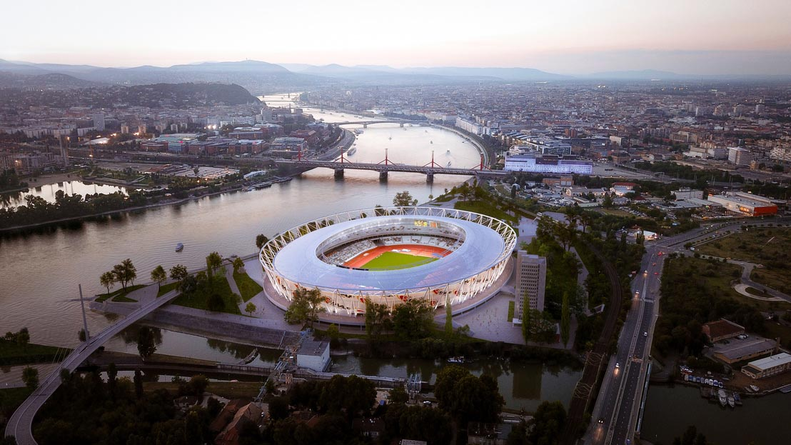 stade au bord de Danube